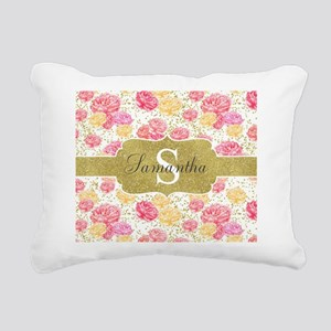 Shabby Chic Floral Monogram Rectangular Canvas Pil